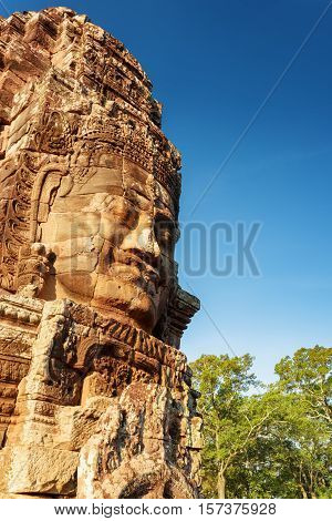 Enigmatic Smiling Giant Stone Face Of Bayon Temple, Cambodia
