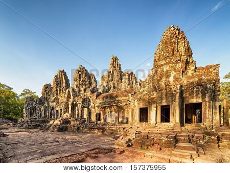Ruins Of Bayon Temple In Angkor Thom In Evening Sun, Cambodia