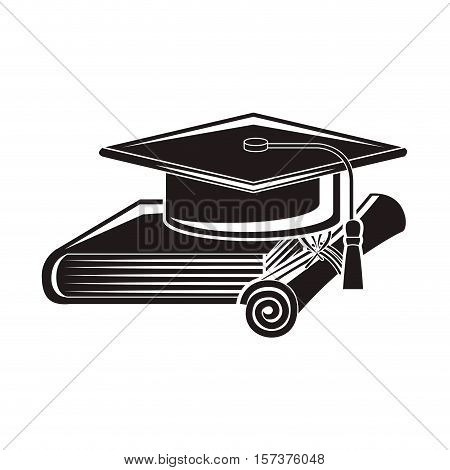 black silhouette graduation cap with certificate and book vector illustration