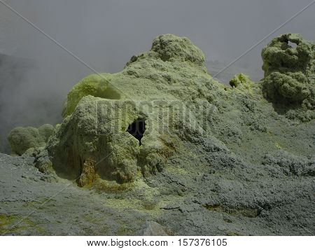 Fumarole in active crater of Mutnovsky volcano Kamchatka Russia