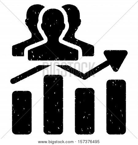 Audience Chart Trend grainy textured icon for overlay watermark stamps. Flat symbol with scratched texture. Dotted vector black ink rubber seal stamp with grunge design on a white background.