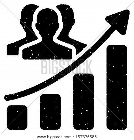 Audience Growth Chart grainy textured icon for overlay watermark stamps. Flat symbol with dirty texture. Dotted vector black ink rubber seal stamp with grunge design on a white background.