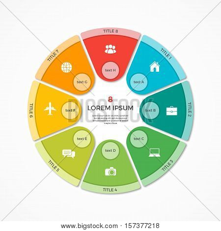 Vector Pie Chart Circle Infographic Template With 8 Options