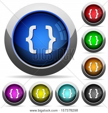 Programming code icons in round glossy buttons with steel frames