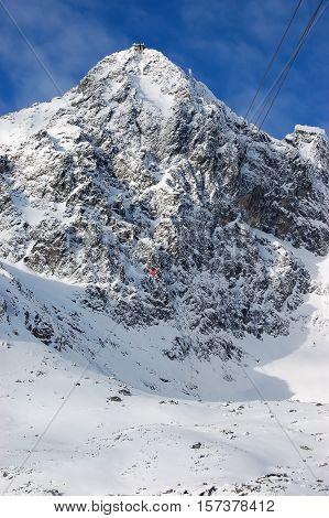 The view on the Lomnicky Stit and lift in Tatranska LomnicaHigh Tatras Slovakia.