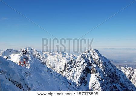 View on the mountains horizon from Lomnicky Stit. Tatranska Lomnica Slovakia.