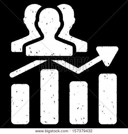 Audience Chart Trend grainy textured icon for overlay watermark stamps. Flat symbol with scratched texture. Dotted vector white ink rubber seal stamp with grunge design on a black background.