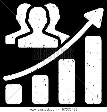 Audience Growth Chart grainy textured icon for overlay watermark stamps. Flat symbol with dust texture. Dotted vector white ink rubber seal stamp with grunge design on a black background.