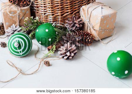 Vintage Christmas Gift Basket Balls Pine Cone