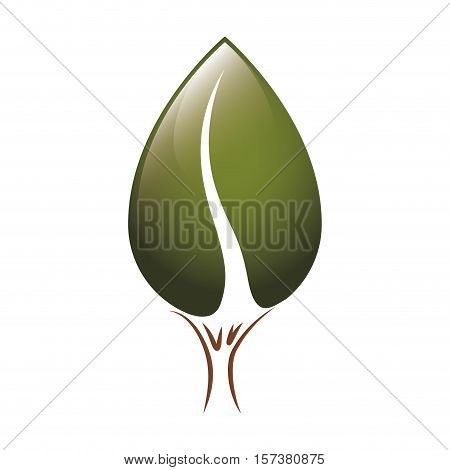 contour tree trunk with green foliage shape of heart to the reverse vector illustration