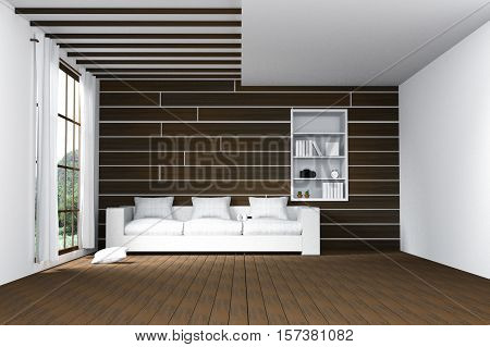 3D Rendering : Illustration Of Easy Living Room.natural Sun Light From Glass Windows.empty Room Inte