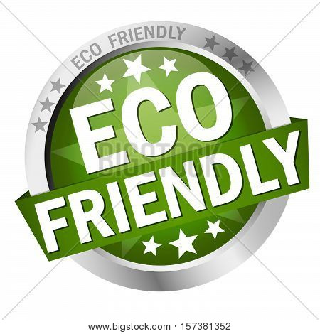 colored button with banner and text Eco friendly