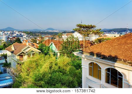 Houses With Tile Roofs And A Beautiful View Of Da Lat City (dalat) On The Blue Sky Background In Vie