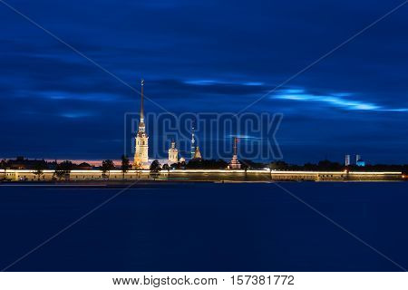 View of the Peter and Paul Fortress at night