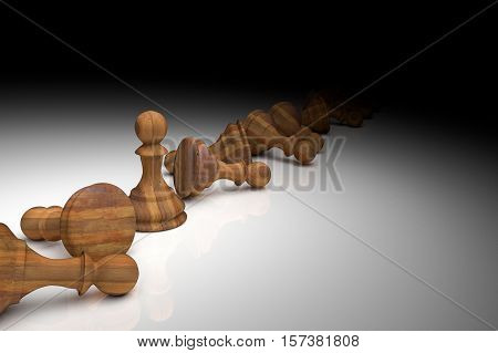 3D Rendering : Illustration Of Chess Pieces.the Wooden Pawn Chess At The Center With Many Falling Pa