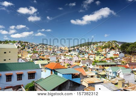 Many Beautiful Colorful Houses Of Da Lat City (dalat) On The Blue Sky Background In Vietnam