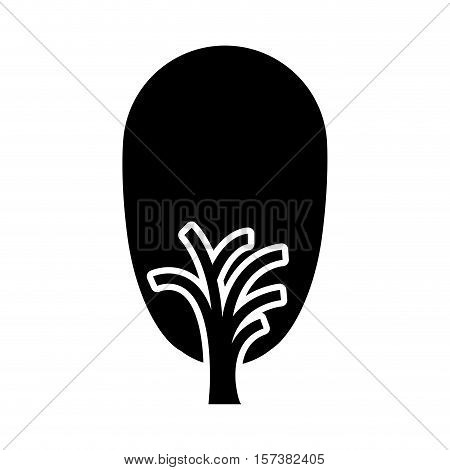 black and white tree trunk with foliage shape ovoid vector illustration