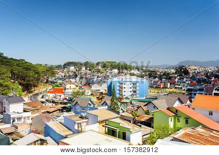 Many Colorful Houses Of Da Lat City (dalat) On The Blue Sky Background In Vietnam
