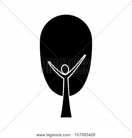 black color tree trunk human with leaves shape ovoid vector illustration