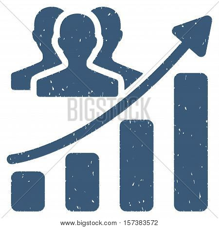 Audience Growth Chart grainy textured icon for overlay watermark stamps. Flat symbol with scratched texture. Dotted vector blue ink rubber seal stamp with grunge design on a white background.