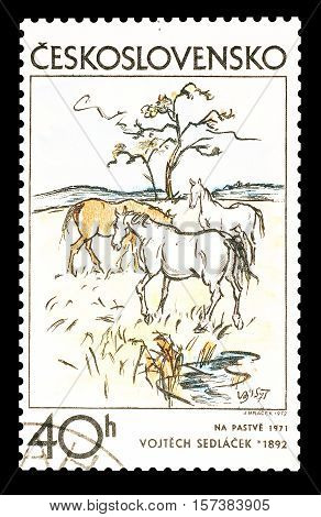 CZECHOSLOVAKIA - CIRCA 1972: Cancelled postage stamp printed by Czechoslovakia, that shows Painting by Vojtech Sedlacek.