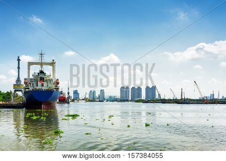Ships On The Saigon River In Ho Chi Minh City, Vietnam