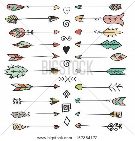 Set of decorative tribal arrows arrows. Hand-drawn black handle elements. Decorative design elements.