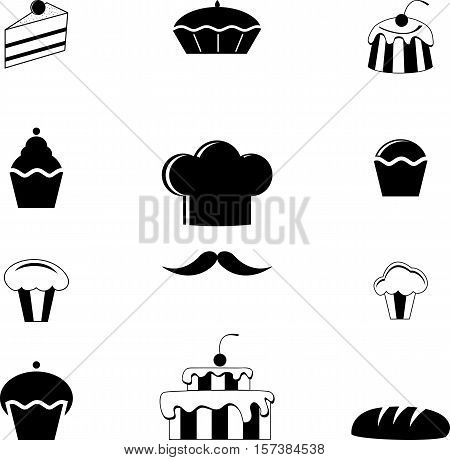 Abstract graphic set of black baking icons