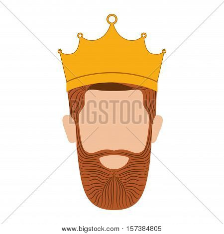colorful king head with crown and beard without a face vector illustration