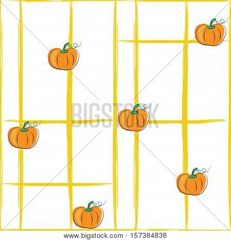 seamless pattern of yellow lines and pumpkin