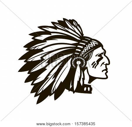 American Indian Chief. Logo or icon. Vector illustration isolated on white background