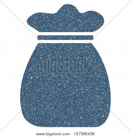 Money Bag grainy textured icon for overlay watermark stamps. Flat symbol with dirty texture. Dotted vector blue ink rubber seal stamp with grunge design on a white background.