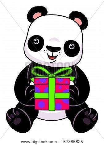 Cute cartoon panda holding gift box on the white background.