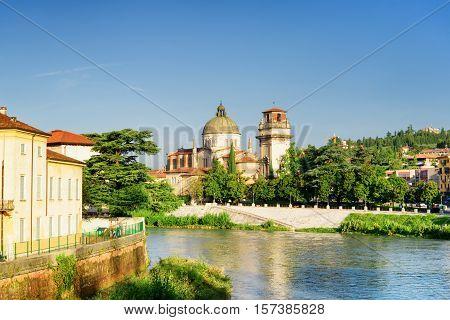 View Of Church Of San Giorgio In Braida From Adige River, Verona