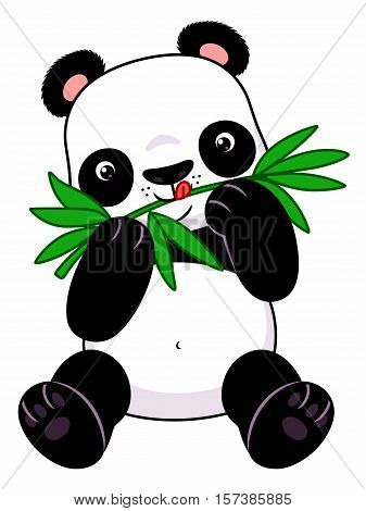 Cute cartoon panda eats bamboo on the white background.