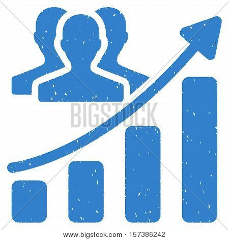 Audience Growth Chart grainy textured icon for overlay watermark stamps. Flat symbol with dust texture. Dotted vector cobalt ink rubber seal stamp with grunge design on a white background.