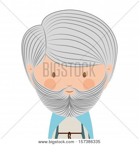 colorful king half body without a crown and gray beard vector illustration