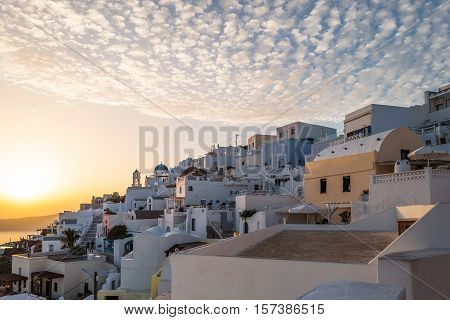 Santorini Greece - October 17 2015: Imerovigli panorama of the village at sunset