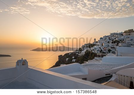 Greece Santorini island Imerovigli panorama of the village at sunset