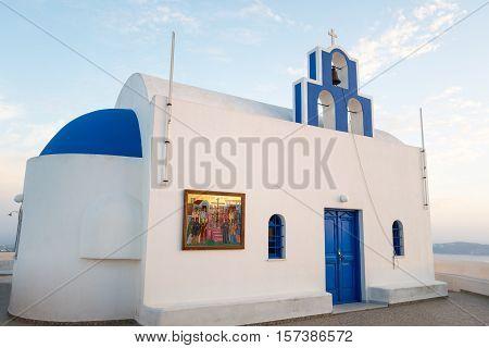 Santorini Greece - October 17 2015: Imerovigli a traditional church on the caldera pathway