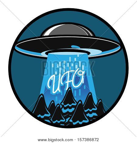 Color vintage ufo emblem. UFO cocept. Vintage style. Vector illustration