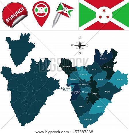 Map Of Burundi With Named Provinces