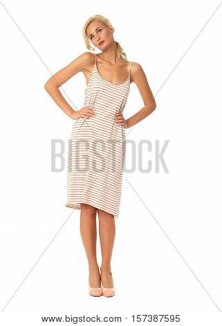 Portrait Of Flirtatious Woman In Striped Beachwear Isolated On White
