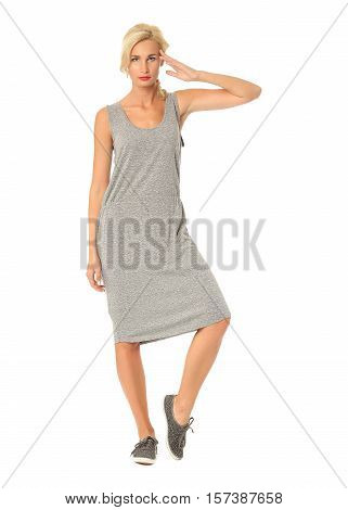 People Of Flirtatious Woman In Gray Tunic Dress Isolated On White