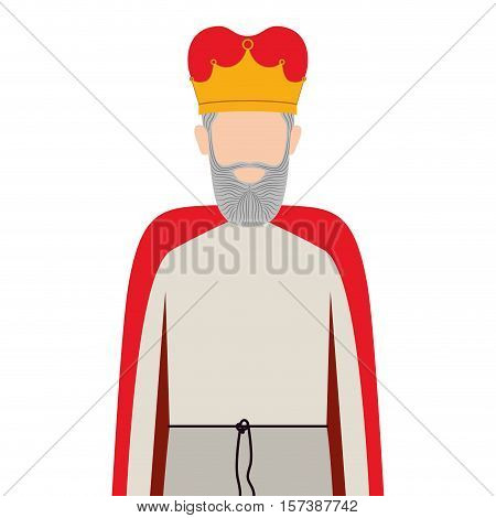 colorful king half body with crown and beard without a face vector illustration