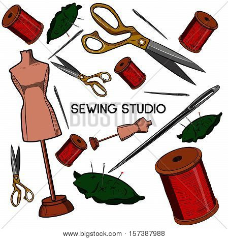 Colored hand drawn sewing icons set. Vector illustration, EPS 10