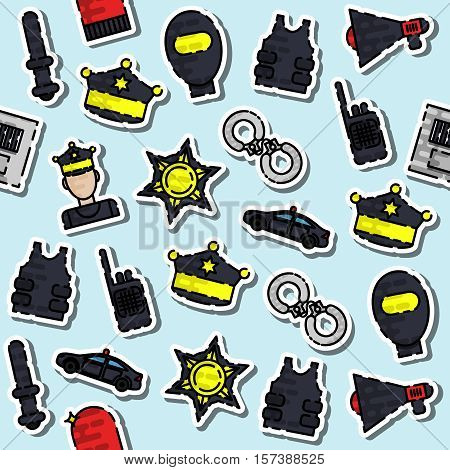 Color hand drawn police pattern - gun, car, crime scene tape, badge, police men, thief, thief in jail, handcuffs, police club. Vector illustration, EPS 10