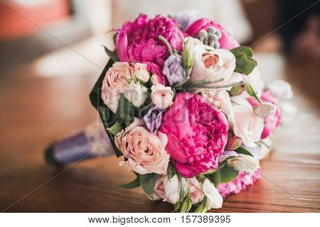 Close Up Of Beautiful Bridal Bouquet