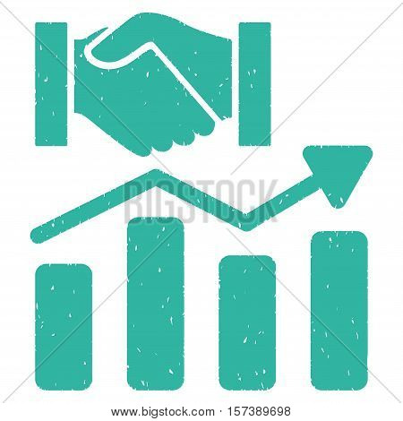 Acquisition Hands Graph Trend grainy textured icon for overlay watermark stamps. Flat symbol with dirty texture. Dotted vector cyan ink rubber seal stamp with grunge design on a white background.