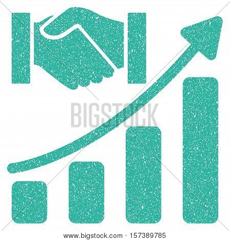 Acquisition Hands Growth Chart grainy textured icon for overlay watermark stamps. Flat symbol with unclean texture. Dotted vector cyan ink rubber seal stamp with grunge design on a white background.